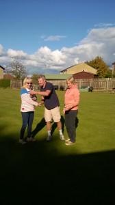 John presents Lynn with the ladies Doris Lea singles trophy