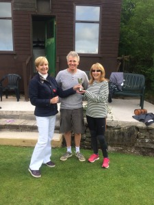 John and Lynn presented doubles cup by secretary Sue Hacking